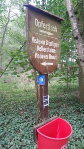 The small blue sign is the trail marker